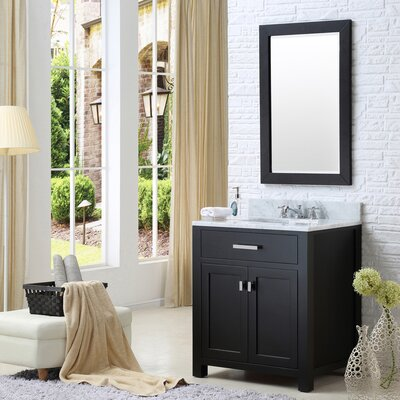 Raven 30 Wood Base Single Sink Bathroom Vanity Set with Mirror Base Finish: Espresso