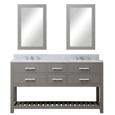 Fran 60 Double Sink Bathroom Vanity Set with Mirror