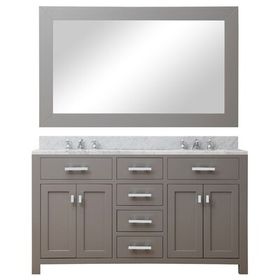Raven Contemporary 60 Double Sink Bathroom Vanity Set with Rectangular Mirror