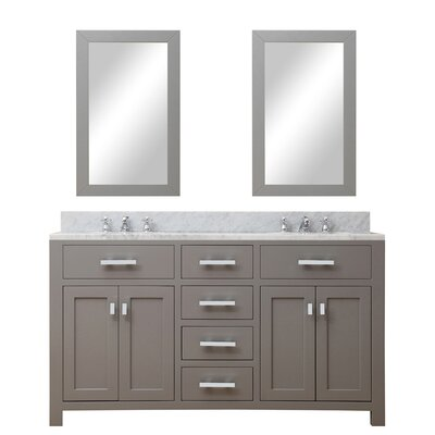 Raven Contemporary 60 Double Sink Bathroom Vanity Set with Mirror