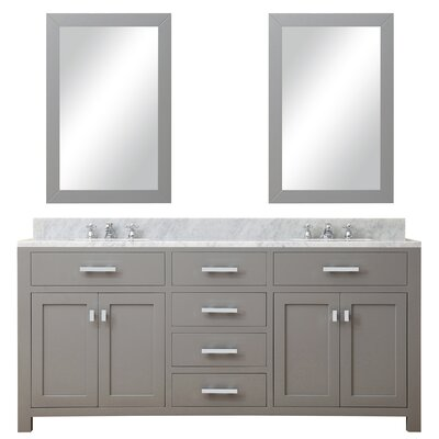Raven Modern 72 Double Sink Bathroom Vanity Set with Rectangular Mirror