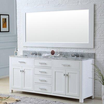 Raven Modern 72 Double Sink Bathroom Vanity Set Base Finish: Solid White