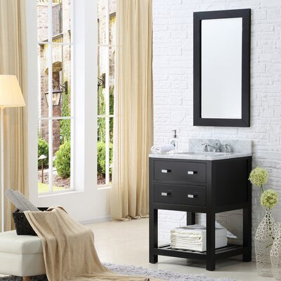 Berghoff Contemporary 24 Single Sink Bathroom Vanity Set with Mirror Base Finish: Espresso
