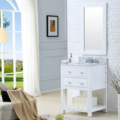 Berghoff Contemporary 24 Single Sink Bathroom Vanity Set with Mirror Base Finish: Solid White