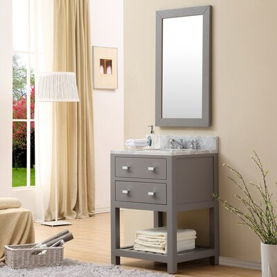 Berghoff Contemporary 24 Single Sink Bathroom Vanity Set with Mirror Base Finish: Cashmere Gray