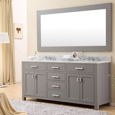 Raven 72 Double Sink Bathroom Vanity Set with Mirror Base Finish: Cashmere Gray
