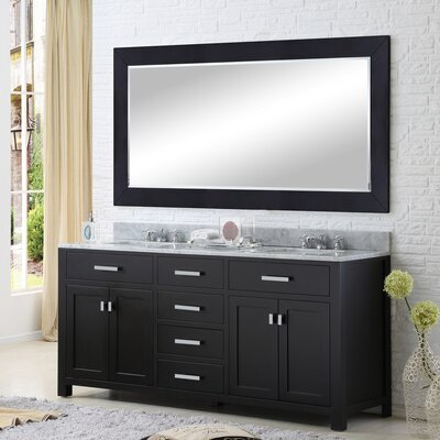 Raven 72 Double Sink Bathroom Vanity Set with Mirror Base Finish: Espresso