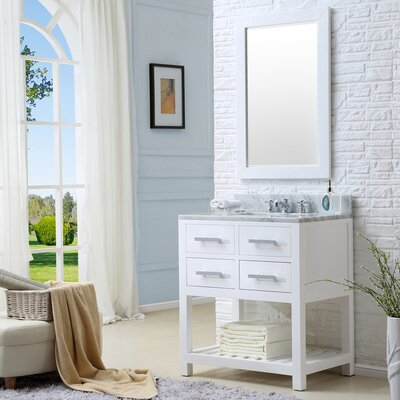 Berghoff Modern 30 Single Sink Bathroom Vanity Set with Mirror Base Finish: Solid White