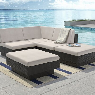 Park Terrace 5 Piece Deep Seating Group with Cushions Finish: Saddle Strap Weave