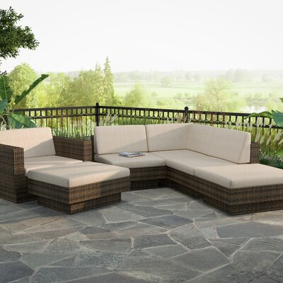 Beach Grove Park Terrace 6 Piece Deep Seating Group with Cushions Finish: Saddle Strap Weave