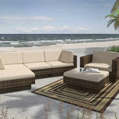 Park Terrace 6 Piece Deep Seating Grouping With Cushions Finish / Upholstery: Saddle Strap / Coral Sand