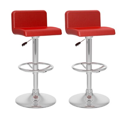 CorLiving Adjustable Height Swivel Bar Stool Upholstery: Red