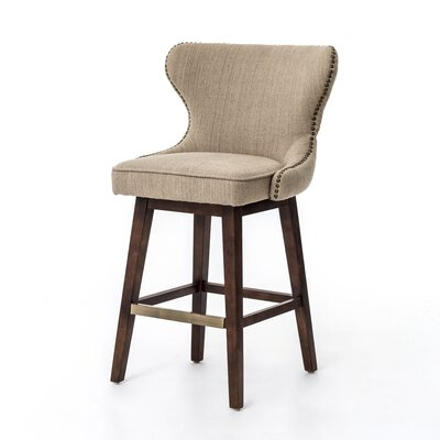Silke Swivel Bar Stool Upholstery: Fabric - Beige, Finish: Hyde Clay