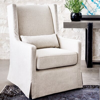 Swivel Wingback chair Upholstery: Beige, Finish: Dark Brown
