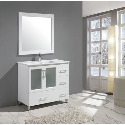 Pratt 40 Single Sink Vanity Set with Mirror Base Finish: White