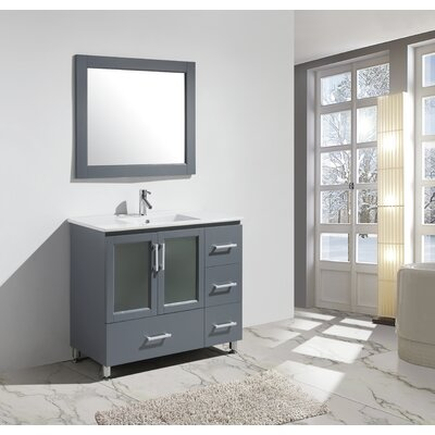 Pratt 40 Single Sink Vanity Set with Mirror Base Finish: Gray