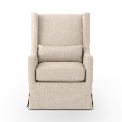 Swivel Wing back chair Upholstery: Beige, Finish: Dark Brown