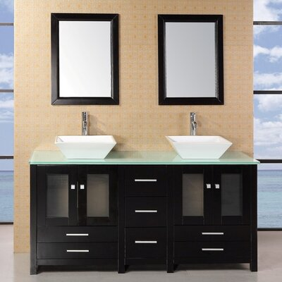 Jackson Heights 61 Double Bathroom Vanity Set with Mirror Base Finish: Dark Wood