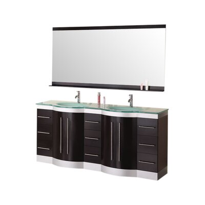 Sirena 72 Double Bathroom Vanity Set with Mirror Top Finish: Tempered Glass