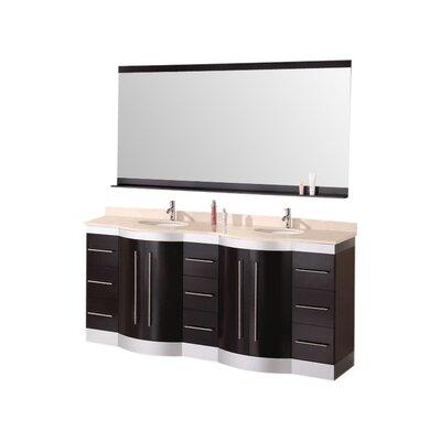 Sirena 72 Double Bathroom Vanity Set with Mirror Top Finish: Travertine Stone