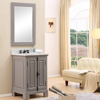 Freemont 24 Single Bathroom Vanity Set with Mirror and Faucet Base Finish: Gray