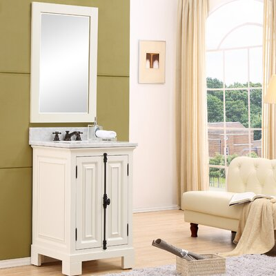 Freemont 24 Single Bathroom Vanity Set with Mirror and Faucet Base Finish: White