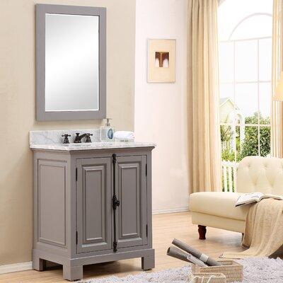 Freemont 30 Single Bathroom Vanity Set with Mirror and Faucet Base Finish: Gray