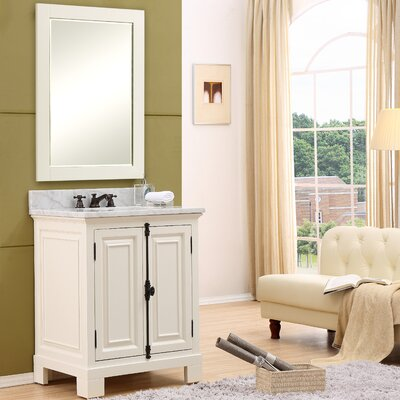 Freemont 30 Single Bathroom Vanity Set with Mirror and Faucet Base Finish: White