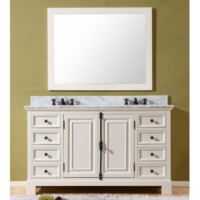 Freemont 60 Double Bathroom Vanity Set with Mirror and Faucets Base Finish: White
