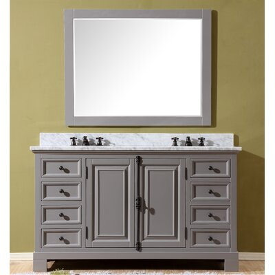 Freemont 60 Double Bathroom Vanity Set with Mirror and Faucets Base Finish: Gray