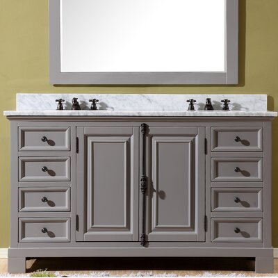 Freemont 60 Double Bathroom Vanity Set with Faucets Base Finish: Gray