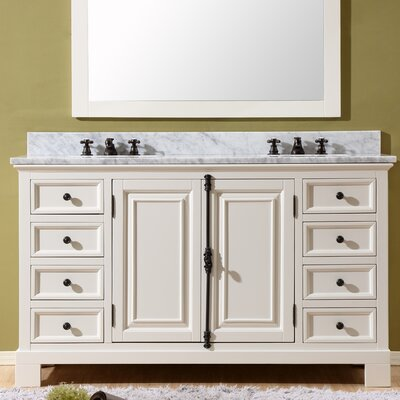 Freemont 60 Double Bathroom Vanity Set with Faucets Base Finish: White