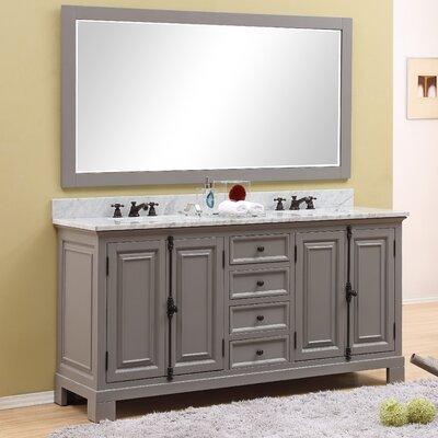 Freemont 72 Double Bathroom Vanity Set with Mirror Base Finish: Gray