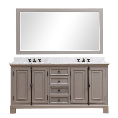 Freemont 72 Double Bathroom Vanity Set with Mirror and Faucets Base Finish: Gray