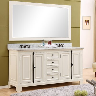 Freemont 72 Double Bathroom Vanity Set with Mirror Base Finish: White
