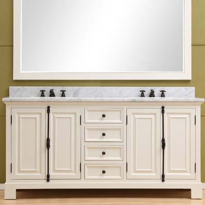 Freemont 72 Double Bathroom Vanity Set with Faucets Base Finish: White
