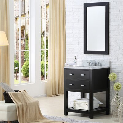 Berghoff 24 Free-standing Single Bathroom Vanity Set with Mirror Base Finish: Espresso