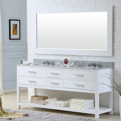 Berghoff 72 Double Bathroom Vanity Set with Mirror Base Finish: Pure White