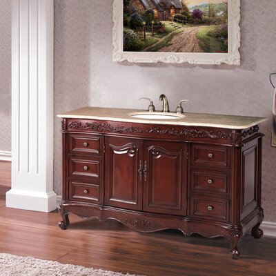 Maida 56 Single Bathroom Vanity Set Top Finish: Travertine