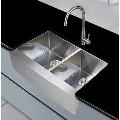 Sycamore 33 x 21 Farmhouse Apron Double Basin Kitchen Sink