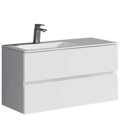 Werner 35.43 True Solid Surface Single Sink Vanity Set with Cabinet