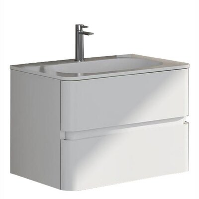 Oskar 23.62 True Solid Surface Single Sink Vanity Set with Cabinet