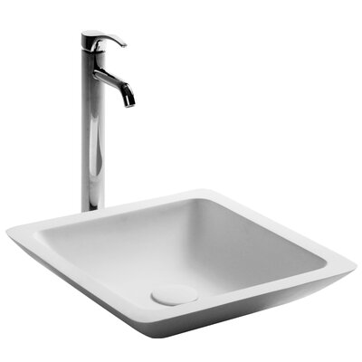 Lindig True Solid Surface Square Vessel Bathroom Sink