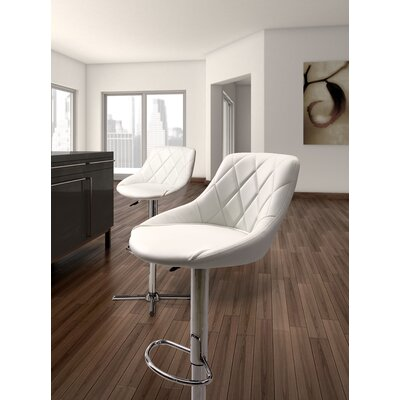 Simmers Adjustable Height Swivel Bar Stool Upholstery: White