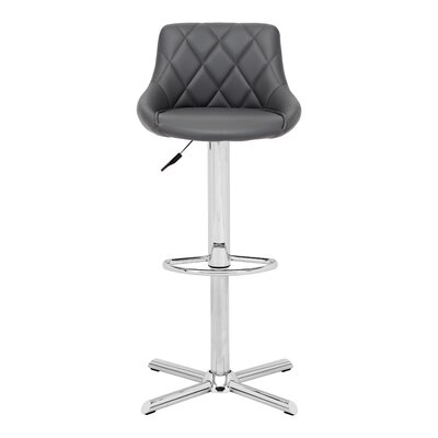 Simmers Adjustable Height Swivel Bar Stool Upholstery: Gray