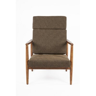 Aalborg High Back Armchair Upholstery: Brown