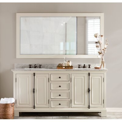 Freemont 72 Double Bathroom Vanity Set with Mirror and Faucets Base Finish: White