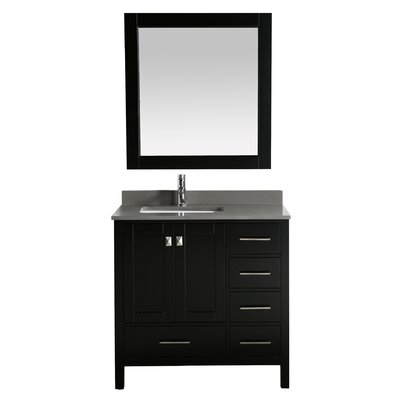 London Hyde 36 Single Bathroom Vanity with Mirror Base Finish: Espresso