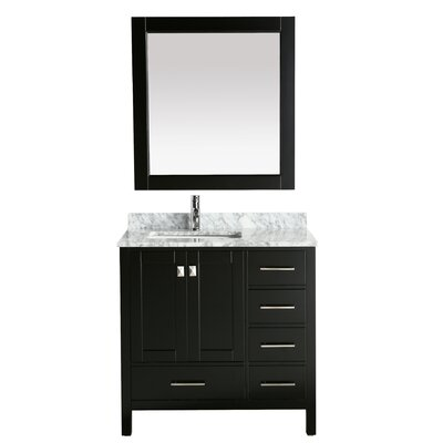 London Hyde 36 Single Bathroom Vanity with Mirror Base Finish: White