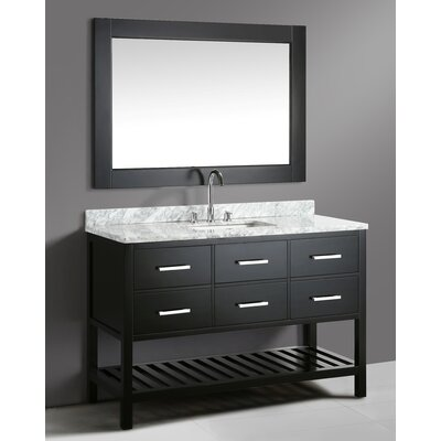 London Cambridge 54 Single Bathroom Vanity Set with Mirror Base Finish: Espresso